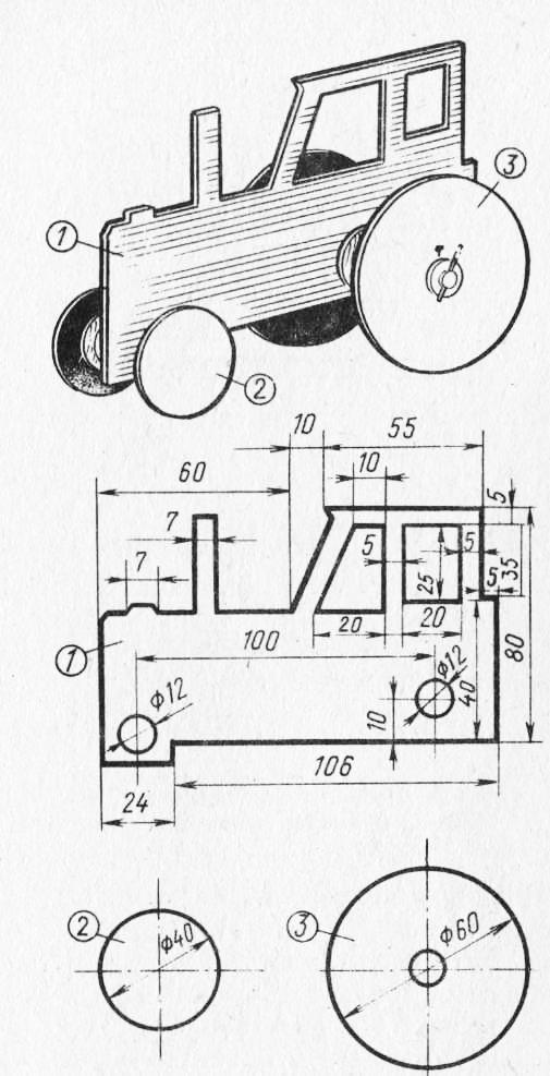 Контурная модель трактора