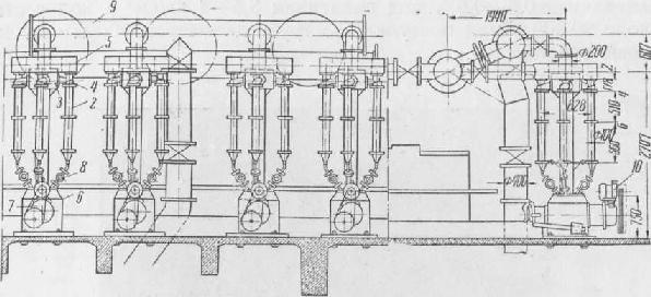 Схема установки вихревых