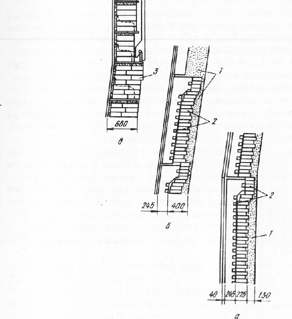 Схема футеровки распара, шахты